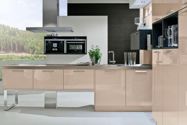 кремовый угловой кухонный гарнитур для кухни хай тек фото