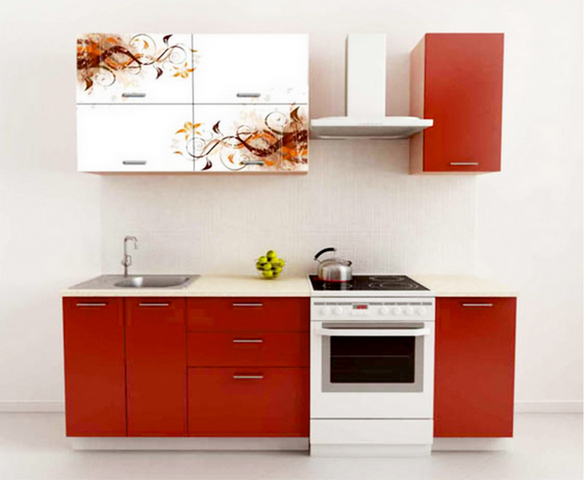 кухонные гарнитуры красного цвета