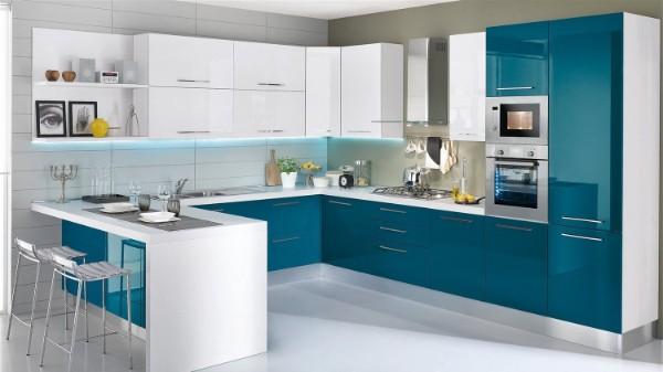 лазурый цвет в дизайне фасада кухни