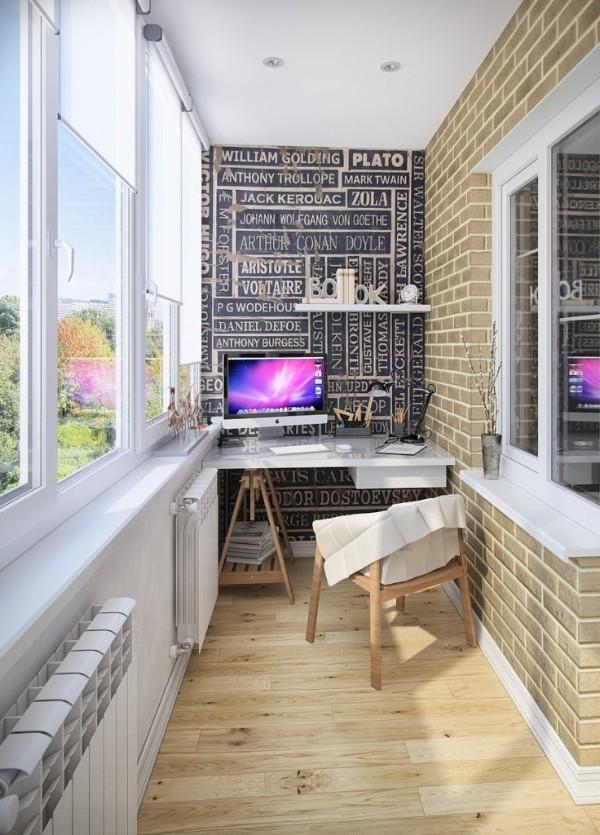 ловфтовый дизайн маленького балкона рабочее место