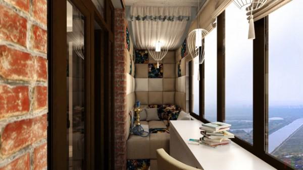 лофтовый дизайн маленького балкона