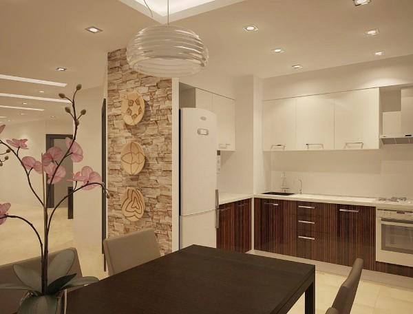 маленькая бело-коричневая угловая кухня для маленькой кухни с холодильником