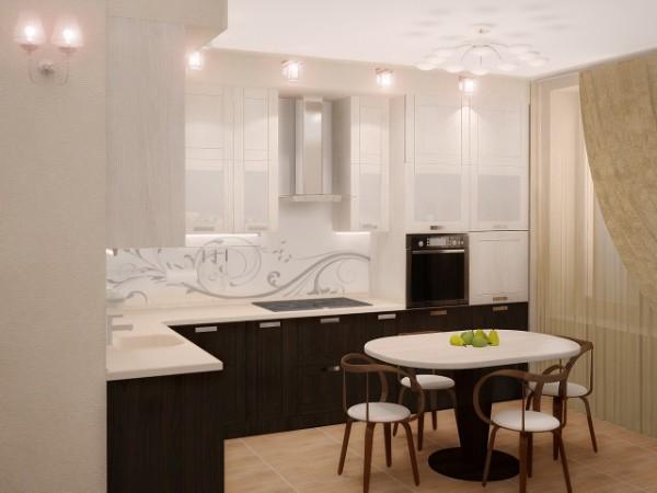 маленькая бело-коричневая угловая кухня для маленькой кухни