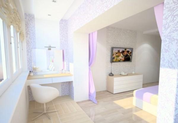 маленькая комната с балконом дизайн фото