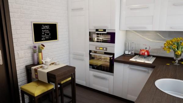 маленькая кухонная угловая кухня в белом цвете