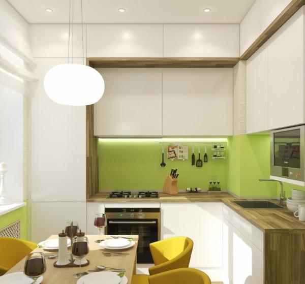 маленькая угловая кухня для маленькой кухни бело-салатовая