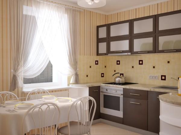 маленькая угловая кухня для маленькой кухни шоколадного цвета