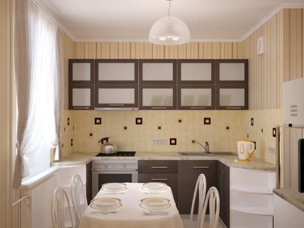 маленькая угловая кухня для маленькой кухни в бежевом решении