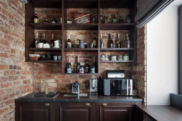 маленькая угловая кухня для маленькой кухни в стиле лофт