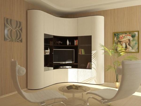 маленький радиусный шкаф купе в гостиную