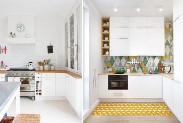 маленький белый кухонный гарнтур в скандинавском стиле