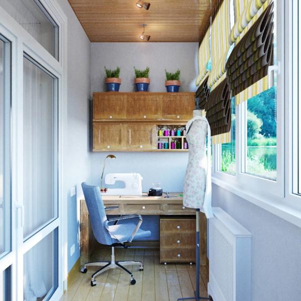 мастерская швеи дизайн маленького балкона