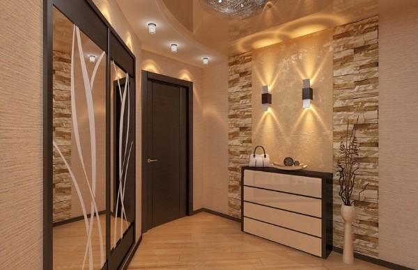 многоуровневое освещение в дизайне коридора в квартире фото
