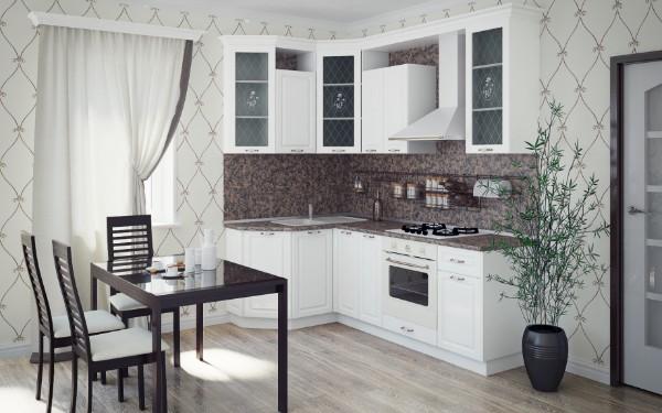 модель углового кухонного гарнитура для маленькой кухни белый цвет
