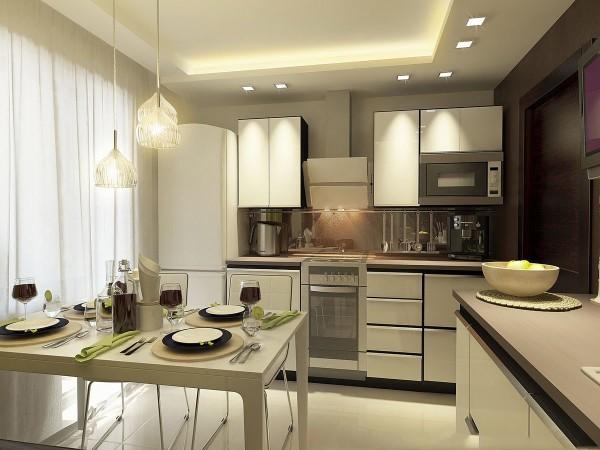 модель углового кухонного гарнитура для маленькой кухни молочный оттенок