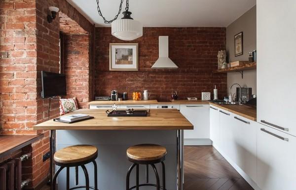модель углового кухонного гарнитура для маленькой кухни с элементами лофта белый цвет