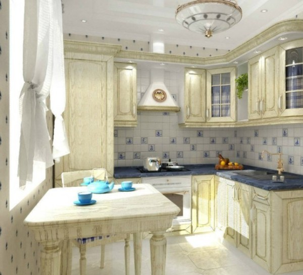 модель углового кухонного гарнитура для небольшой кухни