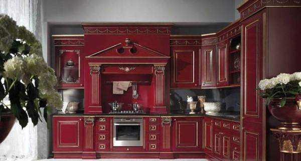 модель углового кухонного гарнитура для просторной кухни барокко
