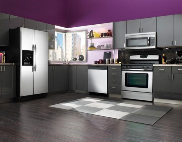 модель углового кухонного гарнитура для простой кухни современный стиль