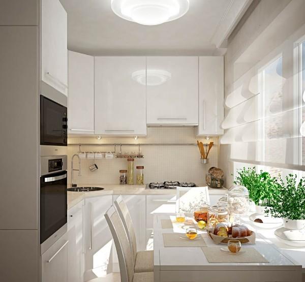 модная маленькая угловая кухня для маленькой кухни со встроенной техникой