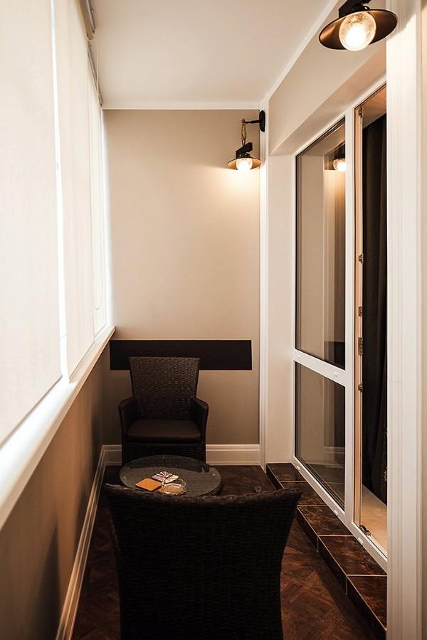 модный дизайн маленького балкона мини гостиная