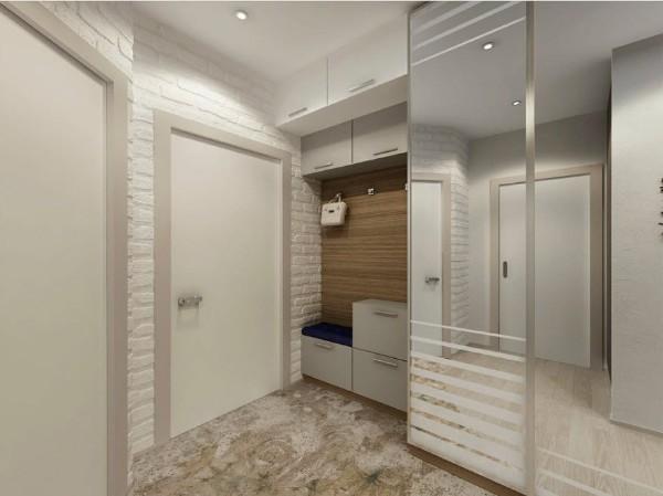 молочный оттенок белого в дизайне коридора в квартире