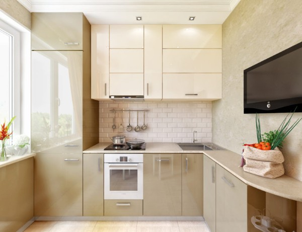 нежно-бежевая маленькая угловая кухня для маленькой кухни