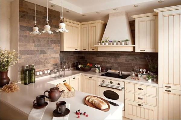 нежный оттенок бежевого углоой кухонный гарнитур для маленькой кухни