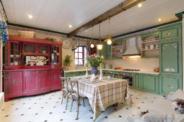 оливковый угловой кухонный гарнитур для кухни в стиле прованс