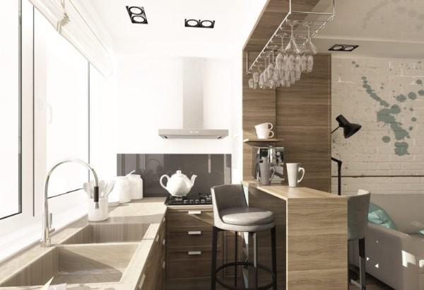 оригинальный дизайн кухня на маленьком балконе