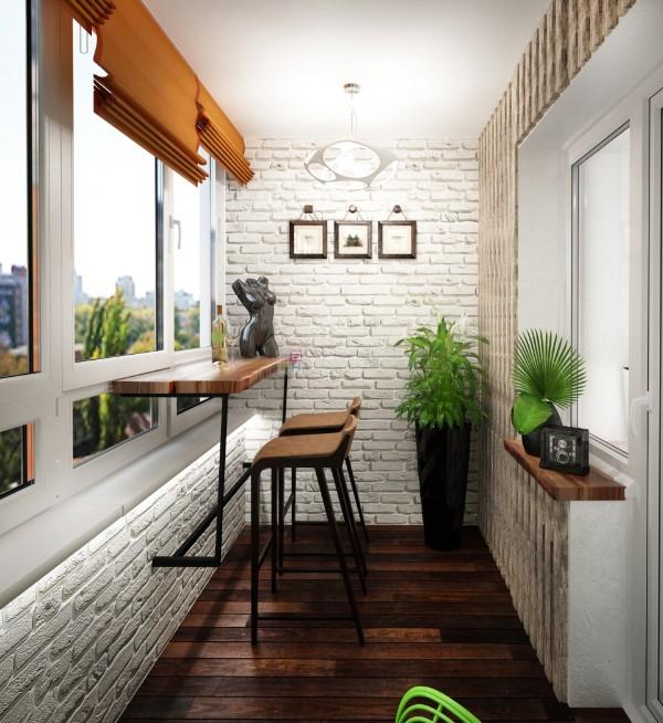оригинальный дизайн маленького балкона с барной стойкой