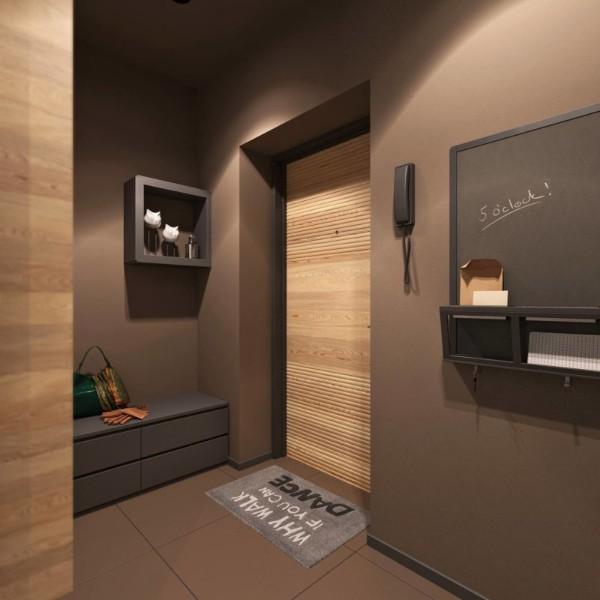 отделка цвета шоколада в дизайне коридора в квартире