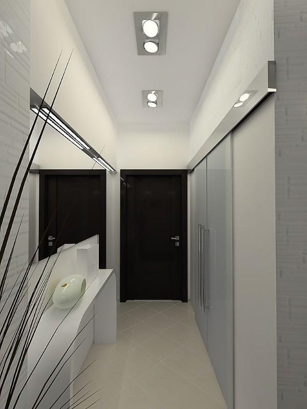 отделка в холодных тонах длинного коридора в дизайне в квартире