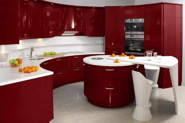 оттенок спелой вишни цвет в дизайне фасада кухни
