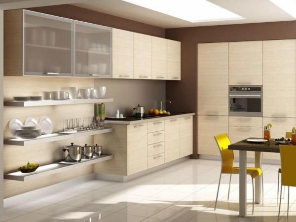 песочный цвет в дизайне фасада кухни