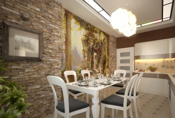пример комбинирования обоев с фотообоями в дизайне кухни столовой