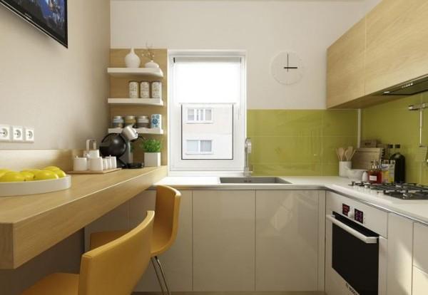 простой дизайн маленькой угловой кухни с мойкой у окна