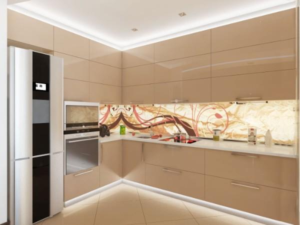 шампань цвет в дизайне фасада кухни