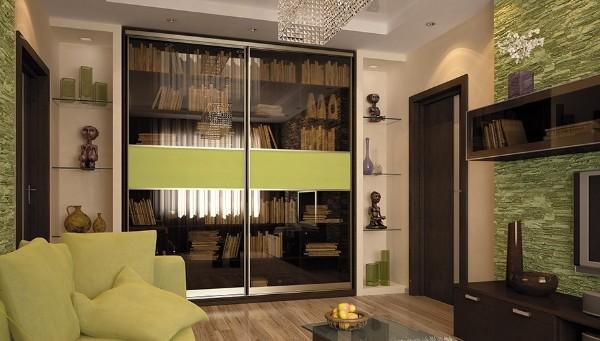шкаф-купе в гостиную для книг