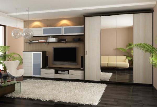 шкаф купе в комбинации с другой мебелью в гостиной
