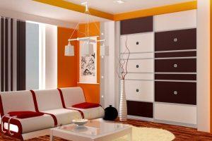 шкаф купе в ярком дизайне в гостиной