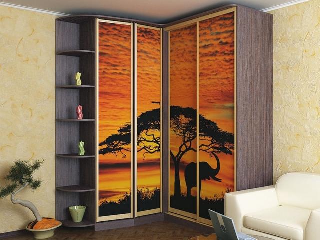 шкафы купе угловые радиусные в гостиную фото