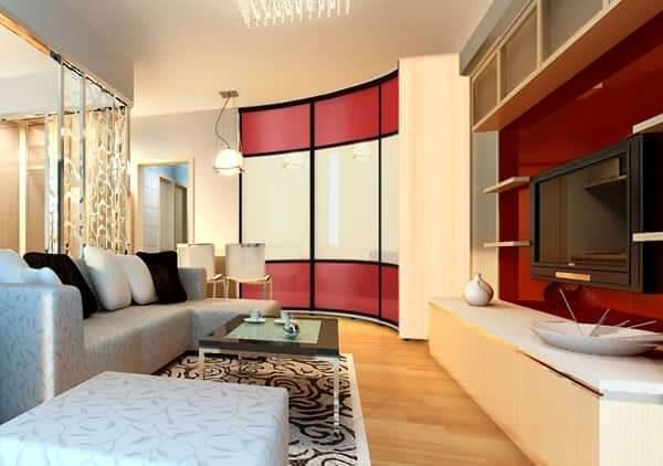 шкафы купе угловые радиусные в гостиную красивые