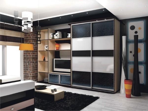шкафы купе в гостиную с элементами лофта