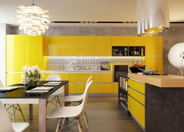 солнечный оттенок цвета в дизайне фасада кухни