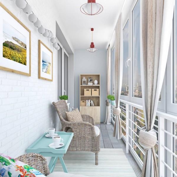 современный дизайн маленького балкона