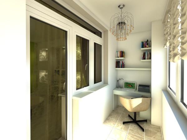 современный рабочий кабинет в дизайне маленького балкона