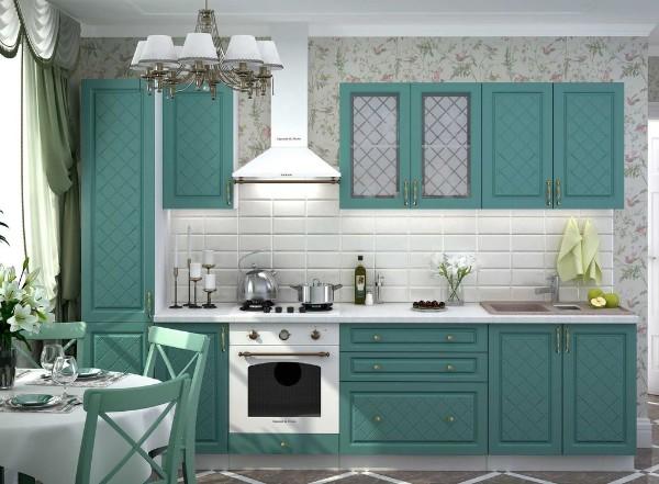 стильная лазурно белая кухня цвет фасада