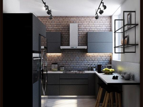 стильная лофтовая маленькая угловая кухня для маленькой кухни