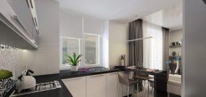 стильная угловая кухня для маленькой кухни совмещённой с гостиной